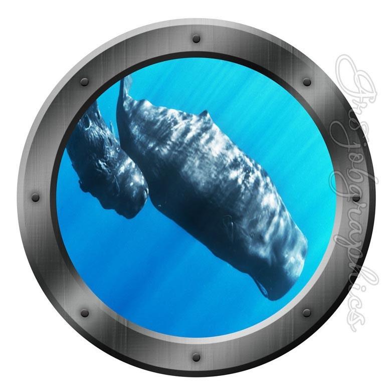 Hublot sous marin baleines d couvre fen tre sticker mural for Fenetre hublot
