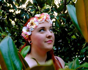 Cream and Pink Flower Headband