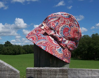 Chemo Hat Cloche Style Cotton Print in Country Red and Cornflower Blue for Women, satin lined, bow accent Ready to Ship