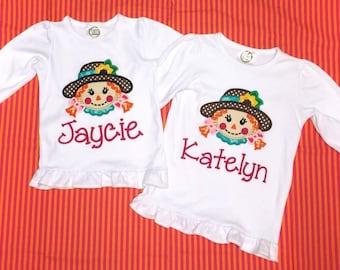 Girl's Scarecrow Appliquéd Shirt