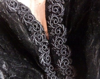 Victorian black velvet bolero jacket Antique French jacket blouse w embroidery 1800s gothic steampunk clothing goth vestment made in France