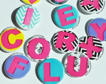 Alphabet Buttons, Alphabet Party, Alphabet theme buttons, Alphabet Magnets, Alphabet refrigerator decor, Alphabet Pins, Student gifts