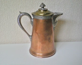OLD Manning Bowman Copper & Pewter Teapot, MS #2 Stamped On Bottom, Hinged LID and Spout, Engraved and Embossed, Amazing Collector Piece