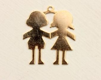 Boy Girl Charm, Gold Kids Charm