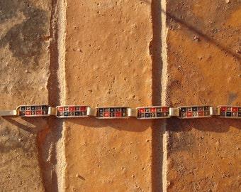 "Vintage Heavy Sterling Silver 8"" Egyptian Bracelet With Enamel & Hieroglyphics"