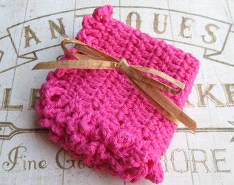 Crochet washcloth, crochet dishcloth, pink washcloth, cotton washcloth, cotton dishcloth, baby washcloth, hot pink, ruffle, knit washcloth