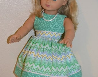 Green and White dress, shoes, headband and necklace for 18 inch doll
