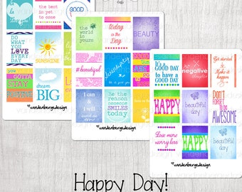 Planner Calendar Stickers- Happy Day! Set of 27 - Perfect for the Vertical Erin Condren Life Planner!