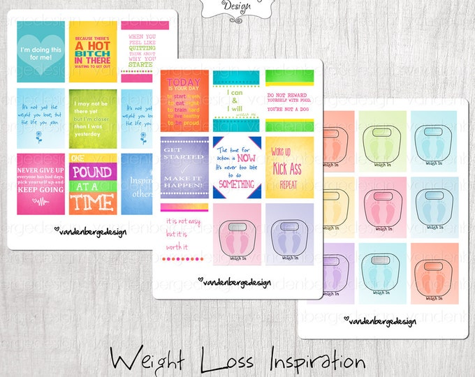 Planner Stickers- Weight loss Inspiration Set of 27-Perfect for the vertical Erin Condren Life Planner