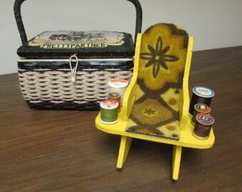 SALE Vntg Handmade Sewing Caddy Yellow