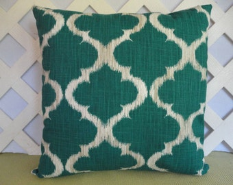 Geometric Pillow Cover / Ikat Pillow Cover in Teal and White / Teal Pillow / Accent Pillow / Decorative Pillow