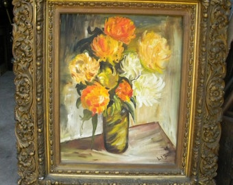 cool vintage mid century signed and dated 1967 large FLORAL OIL PAINTING with an older ornate frame bldg