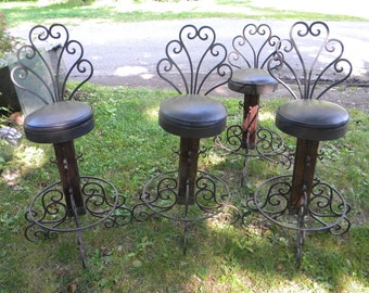 4 amazing great shape mid century 1950s hand wrought IRON BAR STOOLS  pick up only