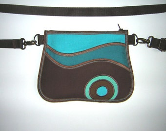 Fanny Pack Hip Bag cute Belt bag Phone Case -bike tote- Mini Sling Purse handmade canvas wallet mixed fabrics in Brown Turquoise with circle