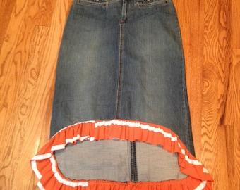 Ladies size 4, fishtail jean skirt, orange ruffle
