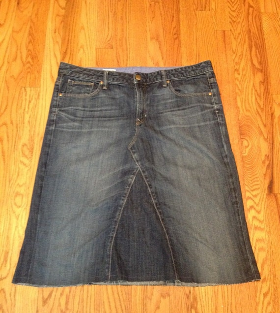 size 16 knee length jean skirt by ramseycouturedesigns