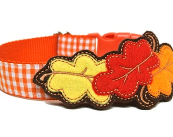 Fall Leaves Felt Dog Collar Add-on For Dog Collar