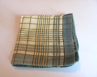 4 Cloth Napkins / Teal Plaid Cotton Blend Napkins