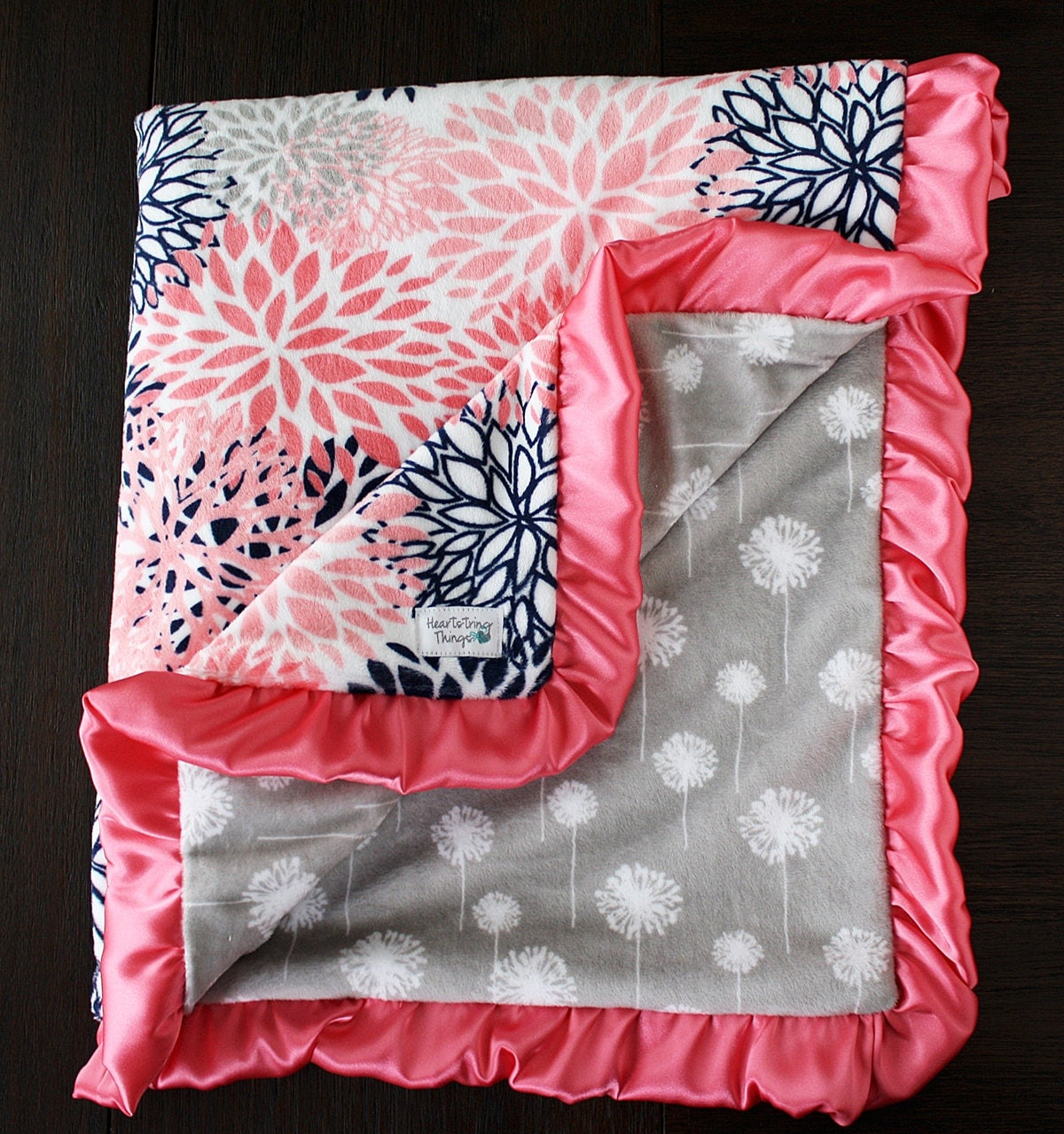 minky blanket baby girl blanket baby gift floral coral and