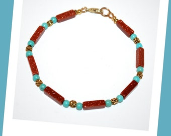 Men' Goldstone Turquoise Bracelet, Men's Goldstone Bracelet, Men Rectangle Bead Bracelet, Goldstone Turquoise Bracelet