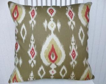 Grey Red Gold  Ikat Pillow Cover- Decorative Throw Pillow Cover  18x18 or 20x20 or 22x22- Lumbar Pillow Cover- Accent Pillow