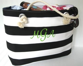 Monogram Beach Bag Black and White Nautical Extra Large Tote Personalized Tote GIFT FOR HER Vacation Travel Pool Bag
