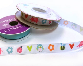 """Spring Animals - 5/8"""" grosgrain ribbon - by the yard"""