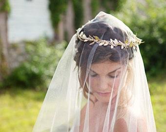 Wedding Veil, Ivory Drop Veil Elbow Length, Bridal Veil, Circle Veil, White - VE432 - READY TO Ship