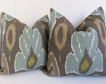 Decorative Ikat Pillow, Brown, Beige ikat Pillow Covers, Designer Pillow Covers, Accent pillow,18x18,16x16