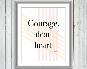 C.S. Lewis Quote Wall Art, Inspirational Motivational Typography Art Print, Wall Decor, Courage Quote, College Dorm Decor, Office, 3 Sizes