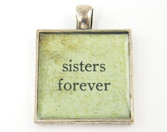 Sister Jewelry - Sisters Forever Pendant Aqua Rustic Square Resin Silver Sister Love Jewelry Charm