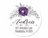 Purple Watercolor Floral Spray Personalized Address Labels Stickers