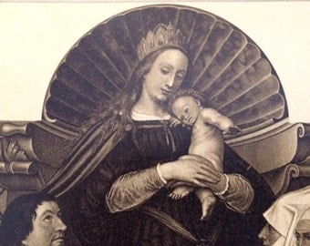 4 Copper Bookplate Engravings of Madonna