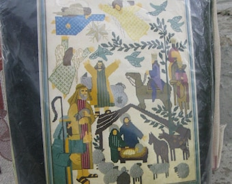 """dimensions needlepoint 2070 nativity scene designed by mayo 1977 18 """" by 24 """""""