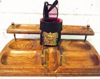 Vintage mans dresser caddy valet  closet decor dapper man  trinket dish eyeglass storage organizer wooden