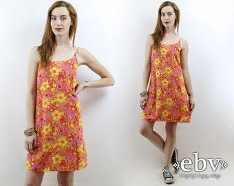 Vintage 90s Neon Floral Mini Dress XS S 90s Floral Dress Soft Grunge Dress Summer Dress Festival Dress Hippie Dress Hippy Dress