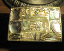 Vintage Silver METAL Tiles of  ABALONE  Hecho En Mexico Belt Buckle