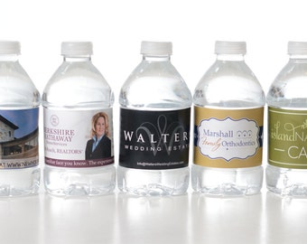 500 Business Logo Water Bottle Labels - 100% waterproof and self-stick