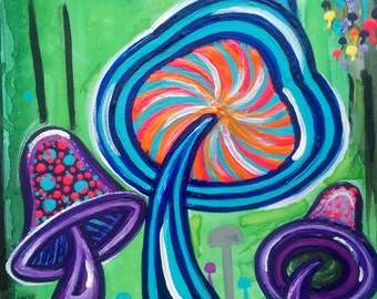 "Supernovae ORIGINAL Art ""Funky Fungi"" 16x20"" Acrylic Watercolors Metallic Paint Painting FREE SHIPPING mushrooms nature neon bright abstract"