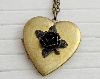 Rose Locket .. vintage brass locket, heart locket, large locket, layering necklace, long locket