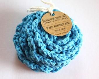 SHOP CLOSING SALE . Flower Face Scrubby Set . Set of 3 . Crochet . 100 Percent Cotton . Blue