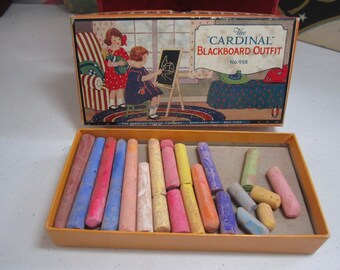 """1930's American Crayon Company the """"Cardinal"""" blackboard outfit box shows cute graphics of little girl holding doll watches other girl draw"""