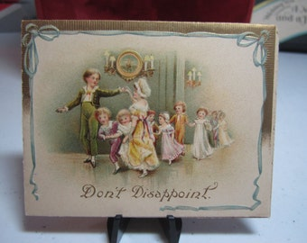 Darling unused embossed gold gilded antique 1900's-1910's children's party invitation little children dancing