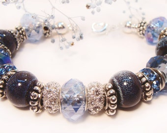 Denim Look Bracelet with Euro Style Beads and Crystals, blue bracelet, silvery spacer beads, etsy handmade, etsy shop, gifts for her