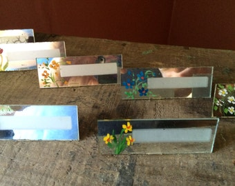 Set of 8 Vintage Mirrored Floral Place Cards