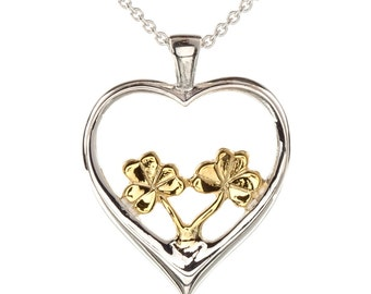 22ct Vermeil Shamrock in Silver Heart