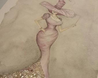 Button, resin,  watercolor, Personalized Art Custom Watercolor Customized Art, Fancy Witch Art Witch Art Custom Made Art, 16 x 20