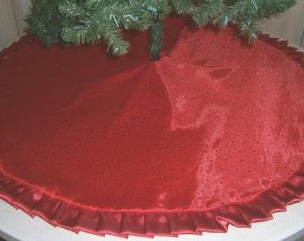 "Christmas Tree Skirt - 57"" - Red Metallic Dots with Satin Ruffle"