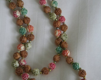 Rose Bead Necklace Multi Colored