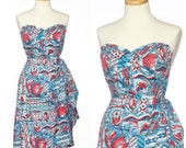 r e s e r v e d // vintage 50s hawaiian dress // Best AQUATIC Novelty Print Strapless Sarong Dress Small Red White Blue